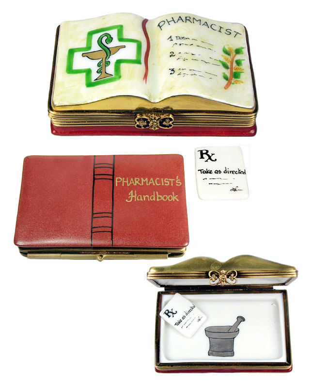limoges box pharmicist's  book with prescription
