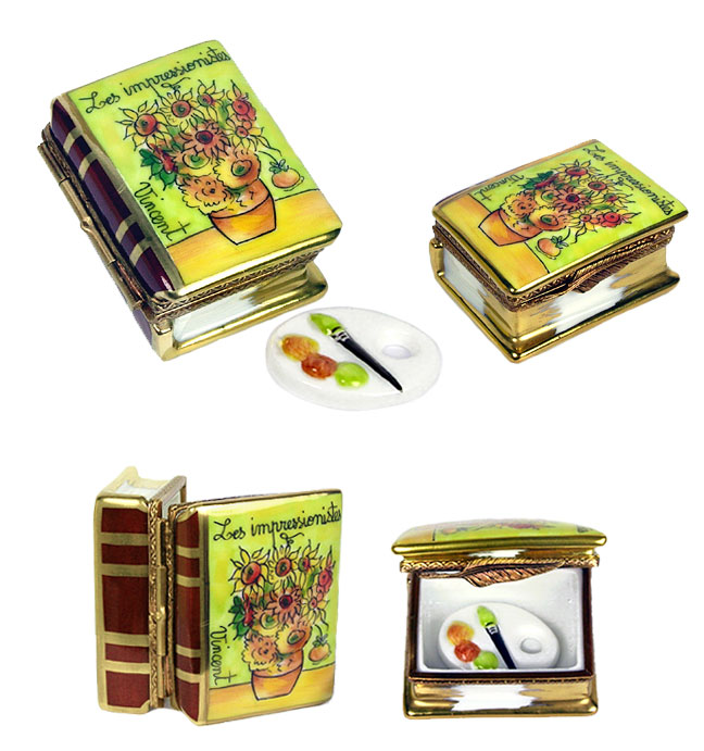 limoges box small impressionist book - van gogh sunflowers