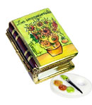 Small Impressionist book Limoges box with Van Gogh Sunflowers and porcelain palette