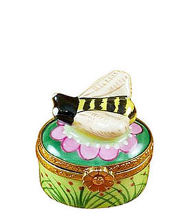 Limoges box honey bee with flowers