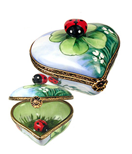 Limoges box heart with ladybug and clover