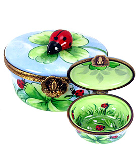 Limoges box ovl with ladybugs and clover