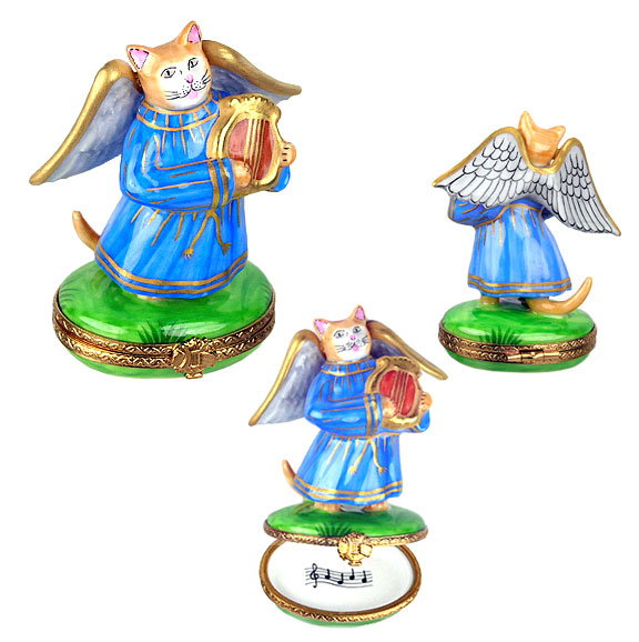 Limoges box angel cat in robe with lyre
