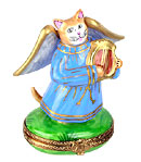 angel cat playing lyre limoges box
