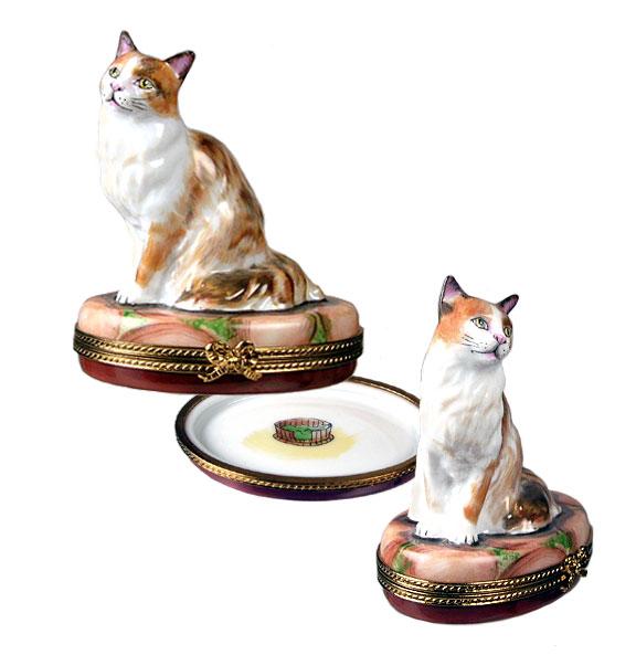 brown cat limoges box
