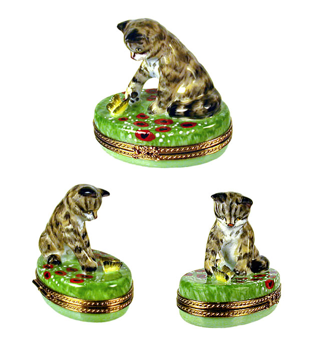 Limoges box tabby cat reaching for butterfly