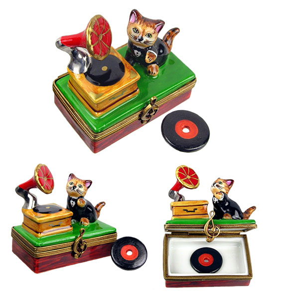 Limoges box music loving cat with phonograph and record