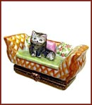 limoges box cat on sofa