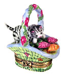 kitten in flower basket Limoges box