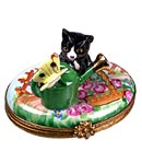 cat with watercan Limoges box
