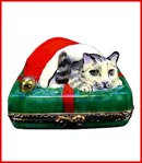Limoges box cat in Santa Cap