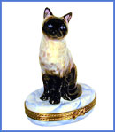 Siamese Cat Limoges box on blue