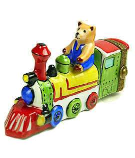 teddy bear riding toy train limoges box