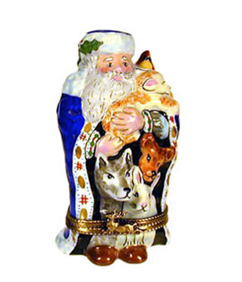 Limoges box Rochard Santa in blue robe with animals