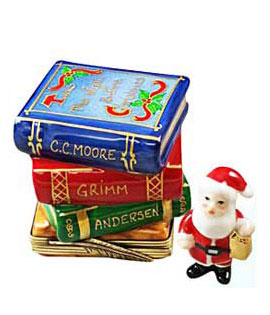 Limoges box Christmas books with removable Santa