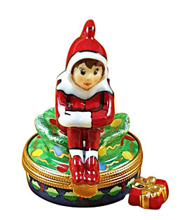 Limoges box rochard Christmas elf with gift