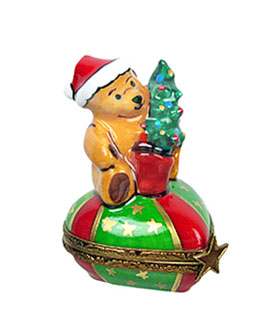 Limoges box teddy bear with santa cap on small heart  - Rochard