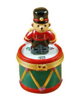Rochard limoges box teddy soldier on drum