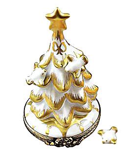 Rochard white and gold Cristmas tree with doves Limoges box and removable procelain dove