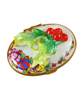 Limoges box figural holly leaves and berries on oval