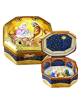 octagon limoges box with crystals and inside holy family