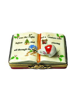 Night before Christmas Limoges box book with mouse