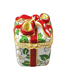 Limoges box wrapped Christmas gift with poinsettia decor and red bow