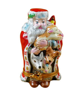 Rochard Limoges box Santa with animals