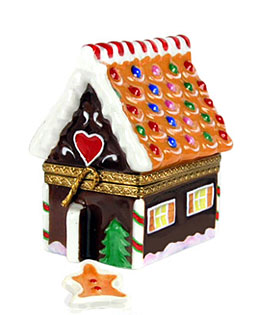 Rochard gingerbread house Limoges box with gingerbread man
