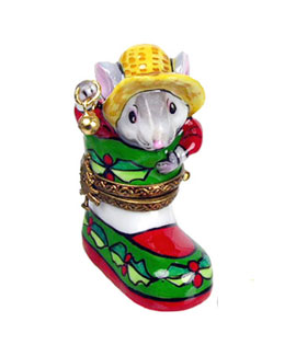 Limoges box mouse in Christmas boot by Rochard