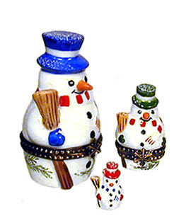 Nesting snowmen Limoges box set