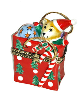 Limoges box holiday bag with Teddy, gifts and candy cane