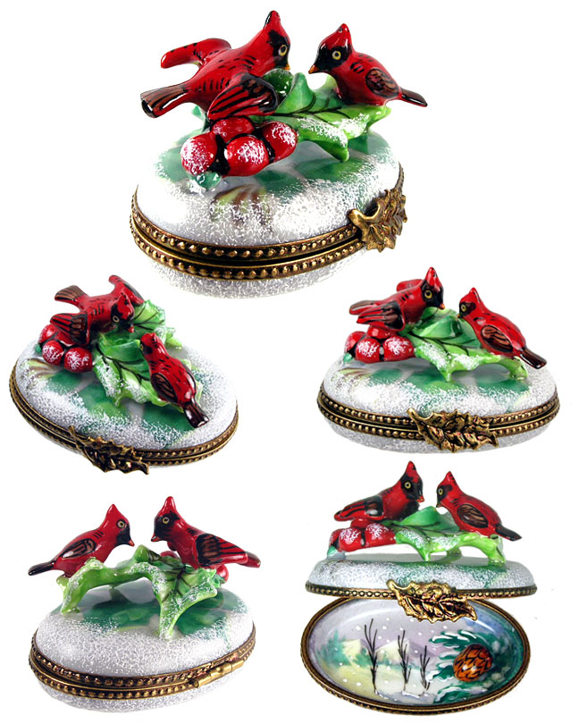 Limoges box pair of Cardinals in snow with holly, inside painting and porcelain pinecone