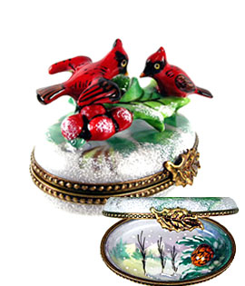 Limoges box cardinals in snow with holly and inside painting