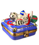 cat playing with Christmas ornaments Limoges box