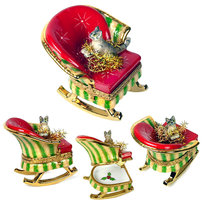 Limoges box cat in rocking chair with tinsel
