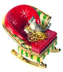 Christmas kitty with Tinsel in Rocker Limoges box