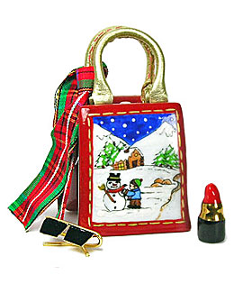 Christmas shopping bag Limoges bnox with scarf, lipstick, and glasses