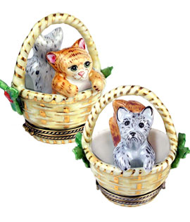Christmas basket with kitten and puppy Limoges box