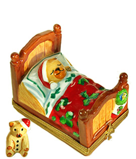 Christmas bear in bed Limoges box with small santa bear