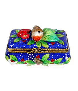 Limoges box Christmas bird on holly atop classic shape