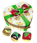 limoges box Christmas heart gift box with three candies