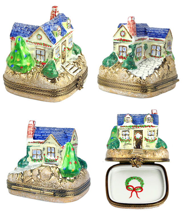 more views of Chamart Christmas cottage Limoges box