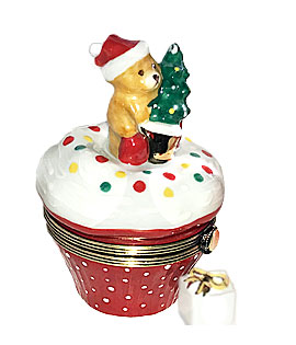 Christmas cupcake Limoges box with Teddy Santa bear
