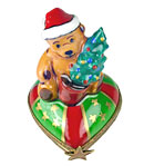 Rochard limoges box teddy santa on holiday heart