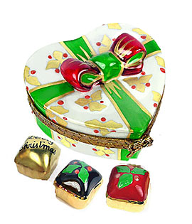 Limoges box heart shaped candy with 3 holiday candies