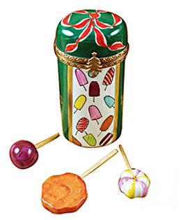 Christmas lollipops in canister Limoges box