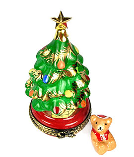 Limoges box Christmas tree with bear