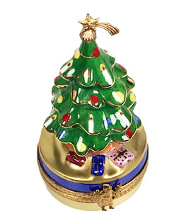 Limoges box Christmas tree with shooting star on top