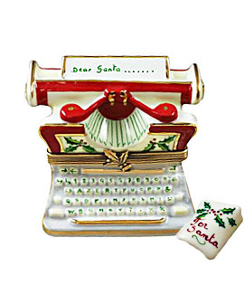 Limoges box Christmas typewriter with letter to Santa